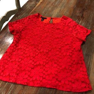 INC 1X Red Floral Top